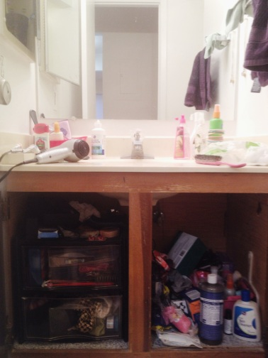 Before - Cluttered Bathroom