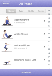 There's a large, and rather intimidating, pose library that includes instructions, benefits and best practices for each pose. You can create your own yoga class using any combination of these poses!