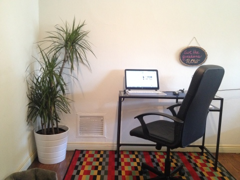Our new Dracaena Marginata next to my desk. I also switched rugs and furniture around this weekend, as I am prone to do.
